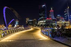Wallpapers Australia Elizabeth Quay Bridge Perth Bridges Fence night