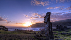 nature sunset landscape statue moai easter island wallpapers and