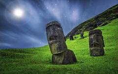 enigma nature landscape moai sculpture starry night grass moonlight