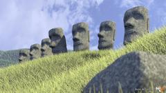 Cgi statues artwork easter island moai 3d wallpapers