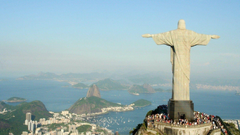 Rio De Janeiro Brasil Statue Christ The Redeemer Landscape