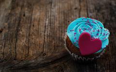 Marzipan Heart Cream Blue Dessert Cake Love HD Wallpapers