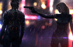 Wallpapers Girl The city The game Neon Rain Weapons Art Cyborg CD Projekt RED Cyberpunk 2077 Cyberpunk Cyberpunk Cyberpunk 2077 Video game image for desktop section