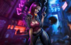 Wallpapers Girl Night The game Gun Weapons Art Cyborg CD Projekt RED Cyberpunk 2077 Cyberpunk Cyberpunk Game Art Cyberpunk 2077 2077 Video game Concept Art image for desktop section