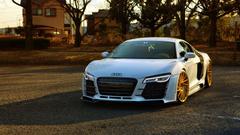 Bilder von Audi R8 Parkplatz Weiß Autos 1920x1080