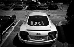 White Audi R8 Rear Monochrome wallpapers