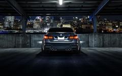 Wallpapers BMW M3 F80 matte black car rear view night city
