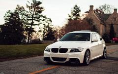 BMW E90 3 Series White Car