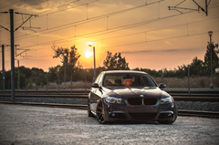bmw e90 deep concave bmw tuning drives sunset railroad HD wallpapers