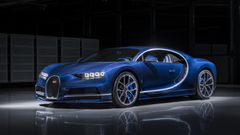 Bugatti Chiron in Bleu Royal exposed carbon fibre will be at