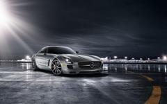 Runway Airplanes Mercedes Benz SLS AMG Spot Light HD Wallpapers