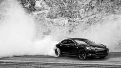 Tesla Model S Doing Monster Burnouts HD Wallpapers