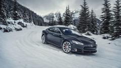 Tesla Model S P85D Black Wallpapers