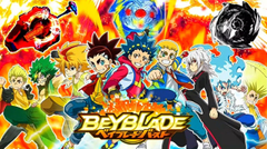 This poster shows 9 characters from the 4 seasons of Beyblade