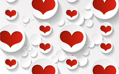 Valentines Day Red and White Hearts widescreen