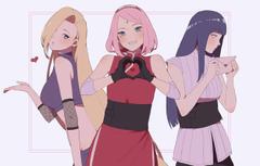 Wallpapers girls trio Naruto Naruto Ino Yamanaka Sakura Haruno