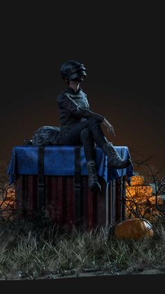 PUBG Girl Sitting On Air Drop Box 4K Ultra HD Mobile Wallpapers