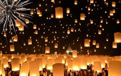 floating lanterns loi krathong festival thailand HD wallpapers