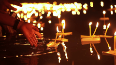 Loi Krathong Festival in Chiangmai Thailand Hand releasing