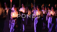 People in ceremony Magha Puja Day Wat Phra Dhammakaya Bangkok