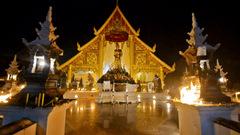 Magha Puja day in Wat Phra Singh Chiang Mai Thailand Empty shrine