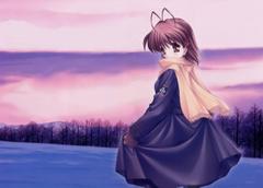 Clannad Furukawa nagisa Girl Scarf Winter Snow Sunset