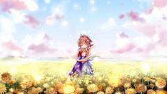 Anime Clannad Ushio Okazaki Nagisa Furukawa Anime Woman Field Flower
