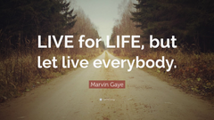 Marvin Gaye Quote LIVE for LIFE but let live everybody