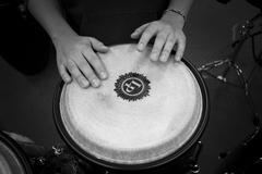 band beat black and white bongo drum drum drummer hands loud