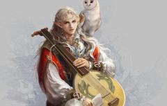 Wallpapers owl bird elf art guy ears bard lute image for