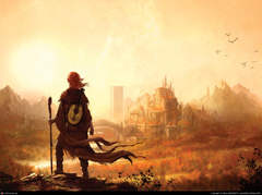 kvothe Lute Redhead Cityscape Wizard Staff Wallpapers HD