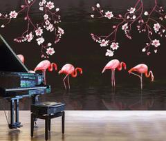 Beibehang Custom Wallpapers Hand Painted Magnolia Flamingo TV