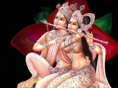 Krishna and Radha play flute image