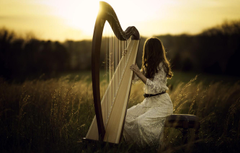 Wallpapers girl light harp image for desktop section