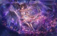 Woman Dress Wings Harp Roses wallpapers