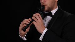 Portrait of Instrumentalist Musician Singing Flutist Playing