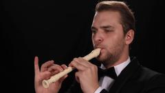 Flutist Man Play Recorder Flute Classic Music Instrument Symphonic