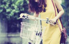 Wallpapers girl bike smile background basket mood dress