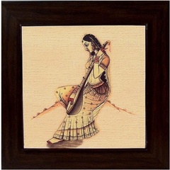 Athah Frameless Poster authentic picture of lady playiing Sitar