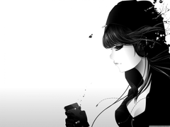Girl Listening To Music Bw 4K HD Desktop Wallpapers for Wide