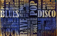 Music genres blues folk rock rave grunge glam metal collage text