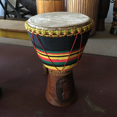 brown green black and yellow stripe djembe image