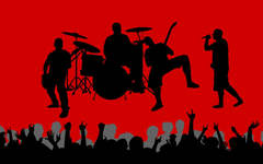 Music vectors shadows crowd band red backgrounds wallpapers