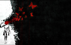 Wallpapers void butterfly blood shot Woman picolet image for