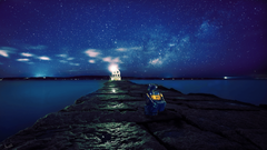 landscape Star Trails House Water Night View WALL E