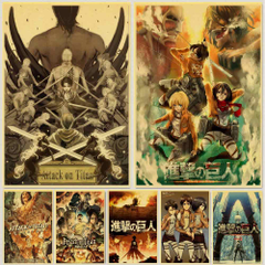 Janpnese Anime Attack on Titan retro posters kraft wall paper High Quality Painting For Home Decor wall stickers