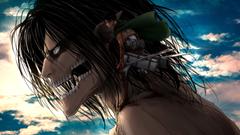 Levi standing on Titan Eren shoulders 4k Ultra HD Wallpapers