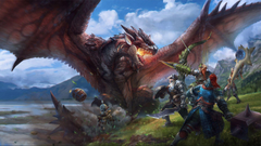 Group of hunters facing off against a dragon Wallpapers from Monster