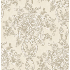 Brewster Potala Cream Fleur De Lis Ogee Wallpapers