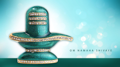 shiva lingam in golden and blue colour